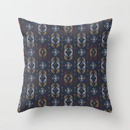 Navy Blue Wildflower Throw Pillow