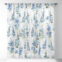Scandinavian Watercolor Midsummer Blue Wildflowers Meadow Sheer Curtain