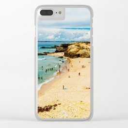 People Having Fun On Beach, Algarve Lagos Portugal, Tourists In Summer Vacation, Wall Art Decor Clear iPhone Case