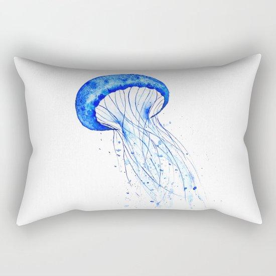 blue jellyfish watercolor Rectangular Pillow