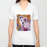 pitbull V-neck T-shirts featuring Pitbull Art by Just Bailey Designs