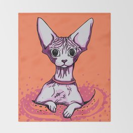 Sphynx Cat - Orange Background Throw Blanket