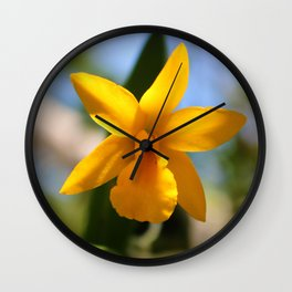 Yellow Orchid Wall Clock