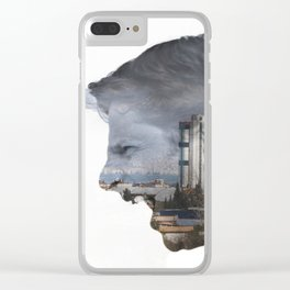 Angry shouting man face on cityscape Clear iPhone Case