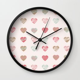 AFE Pastel Hearts Pattern Wall Clock