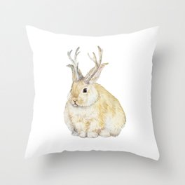 Watercolor Grumpy Jackalope Antler Bunny Throw Pillow