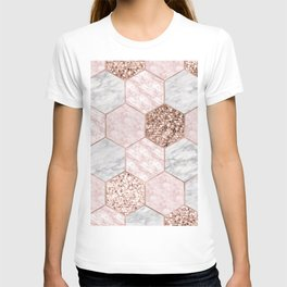 Rose gold dreaming - marble hexagons T-shirt