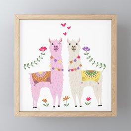 Llama Pattern Framed Mini Art Print