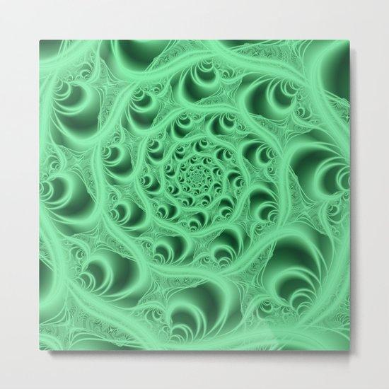 Fractal Web in Flourescent Green Metal Print
