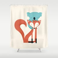 fox Shower Curtains featuring Fox & Koala by Jay Fleck
