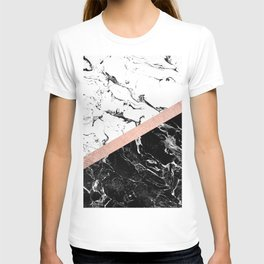 Modern black white marble color block rose gold T-shirt