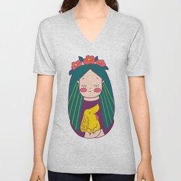 Green haired Girl & Yellow Dog Unisex V-Neck
