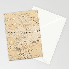 Vintage Map of Lake Winnipesaukee (1896) Stationery Cards