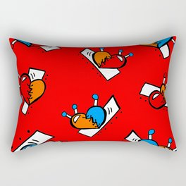 Hearts with Stitches - Blue Red Orange - Bright Red Rectangular Pillow