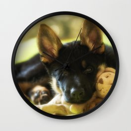 Shepherd puppy looks so tired Wall Clock