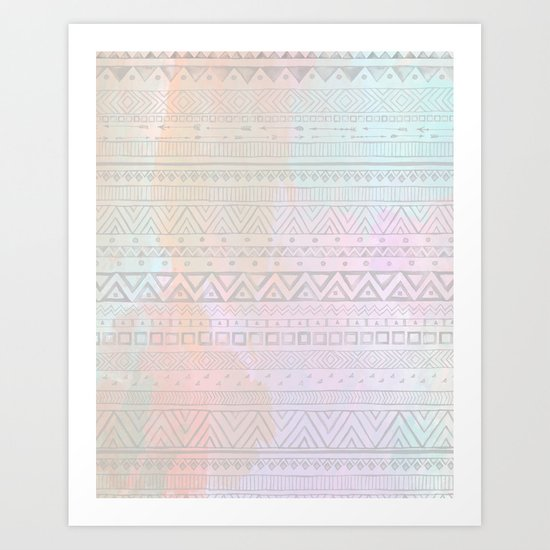 Tribal Pastel Watercolor  Art Print