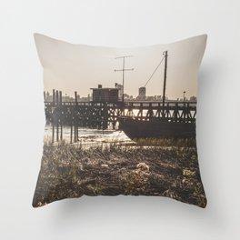 Wooden scaffold with boat at sundown near the port of Antwerp, Belgium / fine art landscape print Throw Pillow