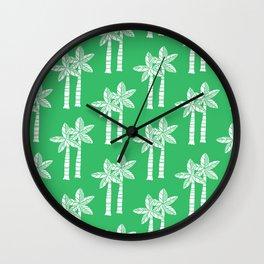 Palm Tree Pattern Green Wall Clock