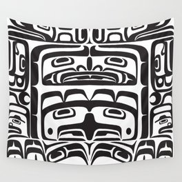 Bentwood Box Black Formline Wall Tapestry