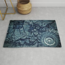 Frosted Combine Harvester Agro Art Rug