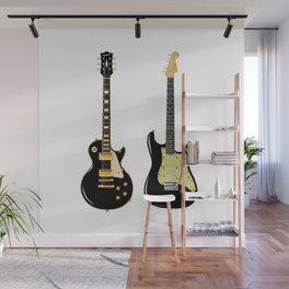 Black Guitar Duo Wall Mural
