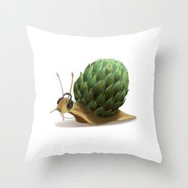 Snail DJ Throw Pillow