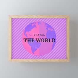 TRAVEL THE WORLD, illustration in pink and purple tones Framed Mini Art Print