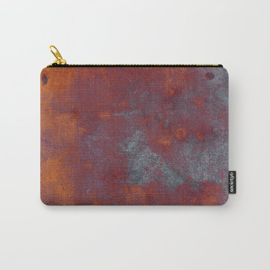 Cracked Amber - Textured abstract painting in amber and blue Carry-All Pouch