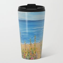 Summer Beach 2, Impressionism Ocean Wall Art, Beach House Decor Travel Mug
