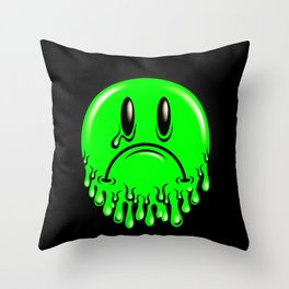 Slimey - neon green Throw Pillow