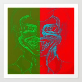 Split Personality; The Joker and Two Face Art Print