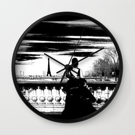 Marry me in Paris digital drawing Wall Clock
