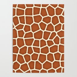 Wild Animal Print, Giraffe in Shades of Copper Brown Poster