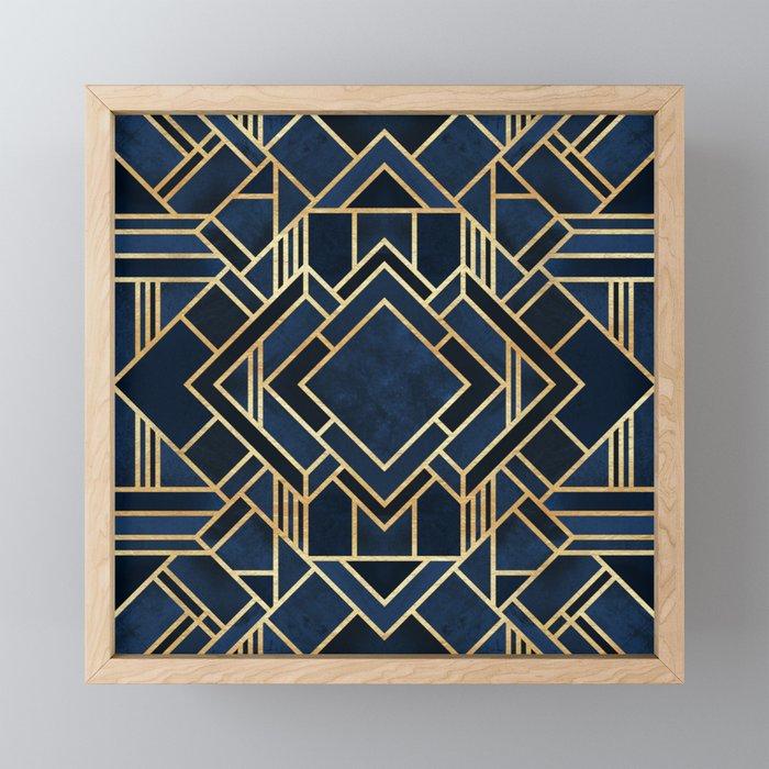 Art Deco Fancy Blue Framed Mini Art Print