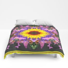 YELLOW SUNFLOWER LILAC BUTTERFLIES ABSTRACT Comforters