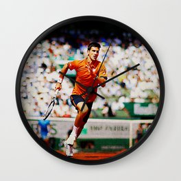 Novak Djokovic Tennis Chasing a Lob Wall Clock