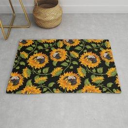 Pug Sunflowers Rug