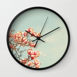 Pink Magnolia Blossoms in Spring Wall Clock