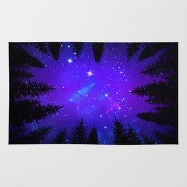 Magical Forest Galaxy Night Sky Rug