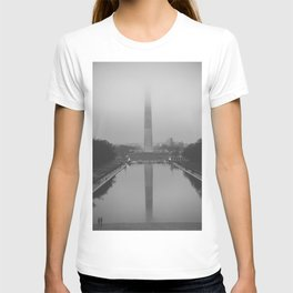 Washington Monument shrouded in fog T-shirt