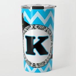 Letter K Cat Monogram Travel Mug