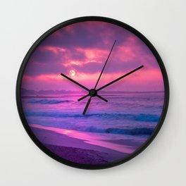 Romantic Sunset At Beautiful Seashore Purple Shade Ultra HD Wall Clock