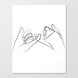 promettre -Pinky Swear , One Line Drawing Print, Black White Hands Artwork,  Canvas Print