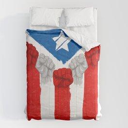 Raised Fists For Puerto Rico - Boricua Flag Comforters