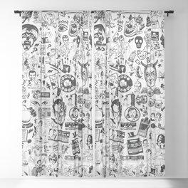 SATANIC PANIC! Vintage Clip Art Zine Style Collage Sheer Curtain