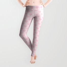 Large Light Soft Pastel Pink Love Hearts Leggings