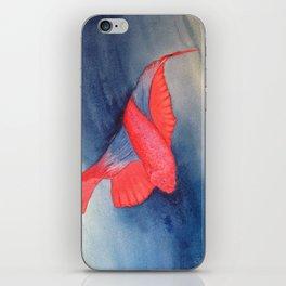 Red Betta Fish In Blue Water iPhone Skin