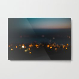 Night-time bokeh blurred out of focus city lights at sunset Metal Print