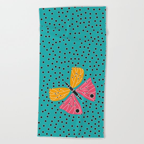 Butterfly with dots Beach Towel