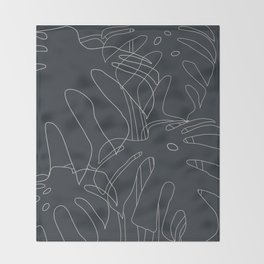 Monstera No2 Black Edition Throw Blanket